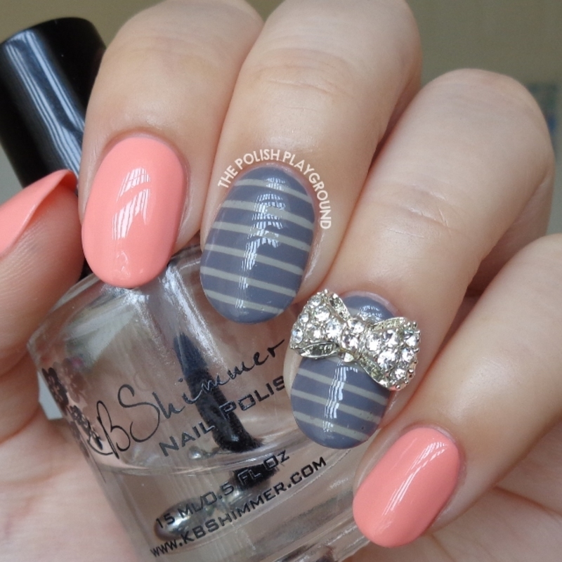 Peachy Pink with Grey Stripes and Bow Stud nail art by Lisa N