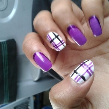 The puple striper nail art by Simran Aggarwal