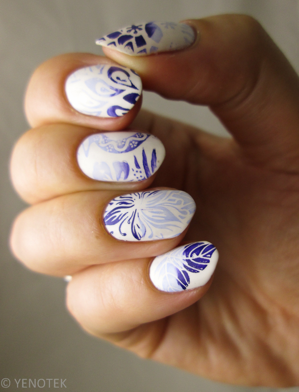 Exotic flower stamping nail art by Yenotek