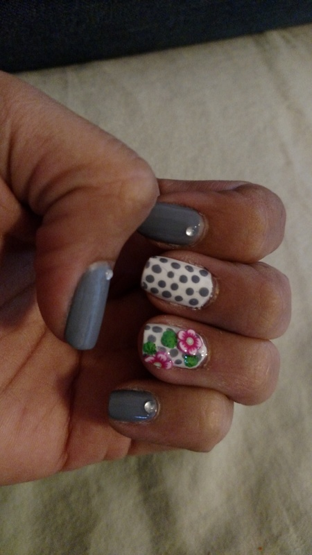 Grey Polkadot fun nail art by Rubby  Jarnagin
