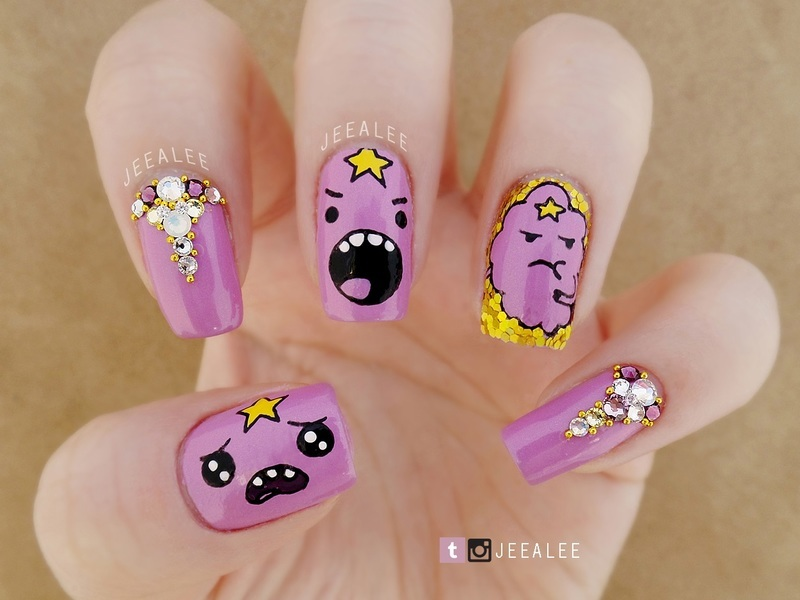 Lumpy Space Princess Nails nail art by JeeA Lee