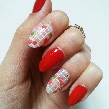 Checkered Cherries nail art by Cutecle