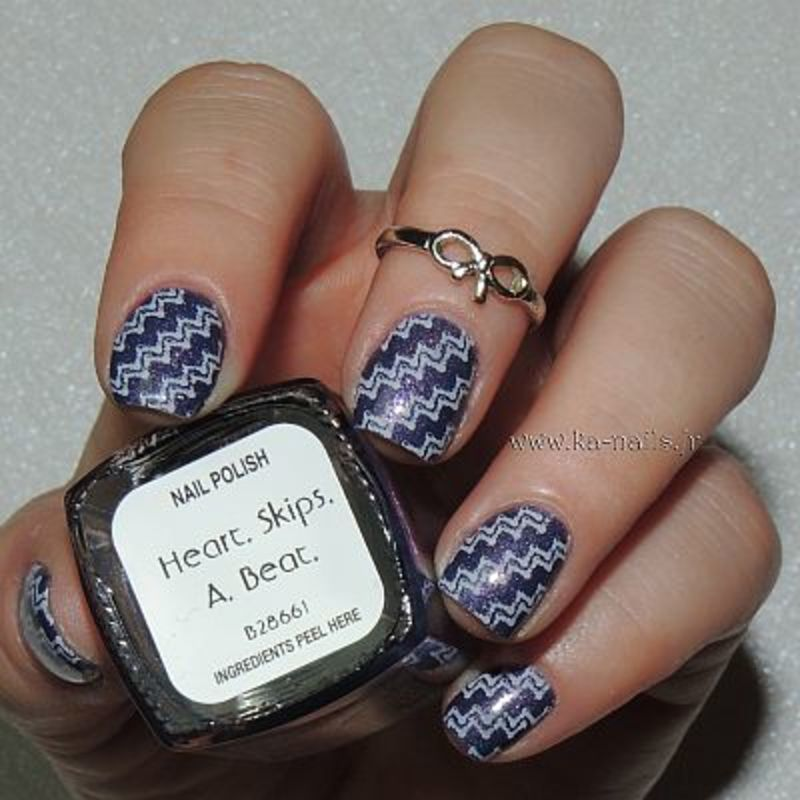 IStamping entre Rose et Violet nail art by Ka'Nails