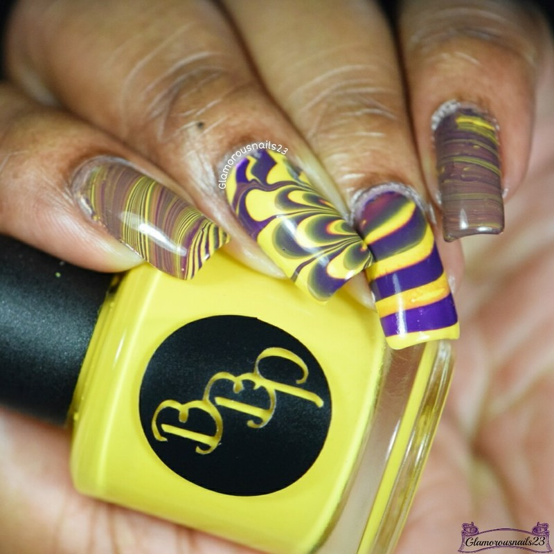 Watermarble Wednesdays: Dark Purple & Yellow nail art by glamorousnails23
