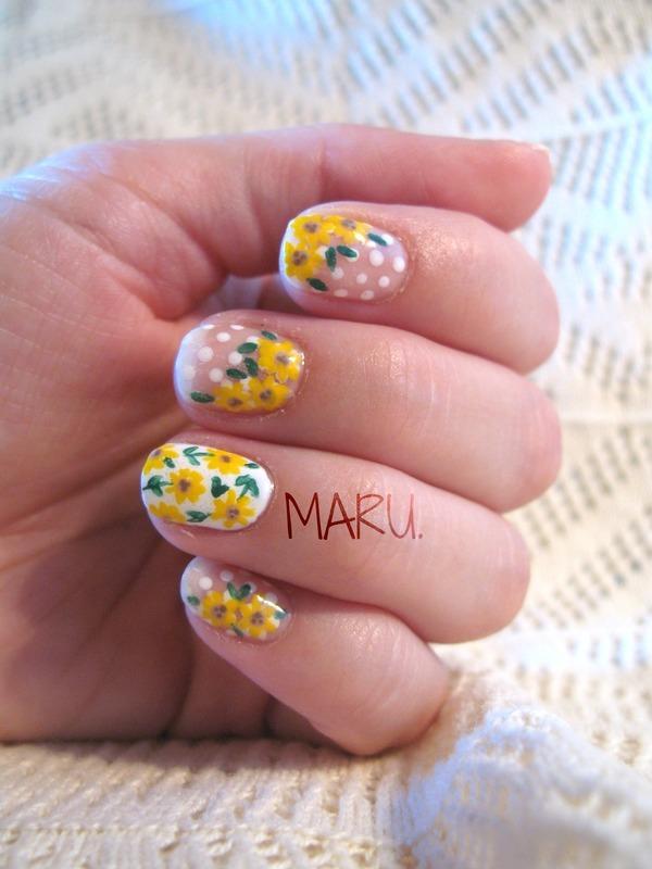 Sunflowers nail art by Martina