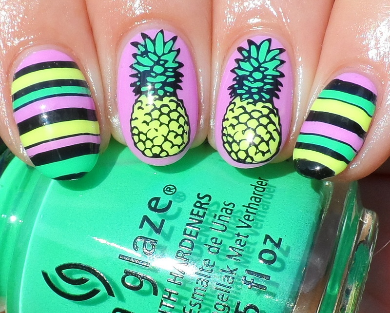 Pineapples nail art by Plenty of Colors