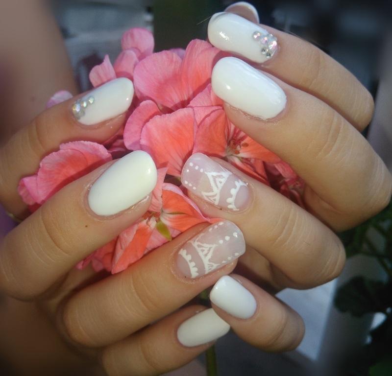 white gel nails  nail art by vesna