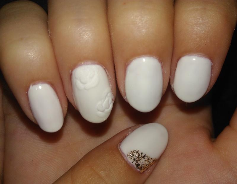 white gel nails with 3d velvet roses nail art by vesna