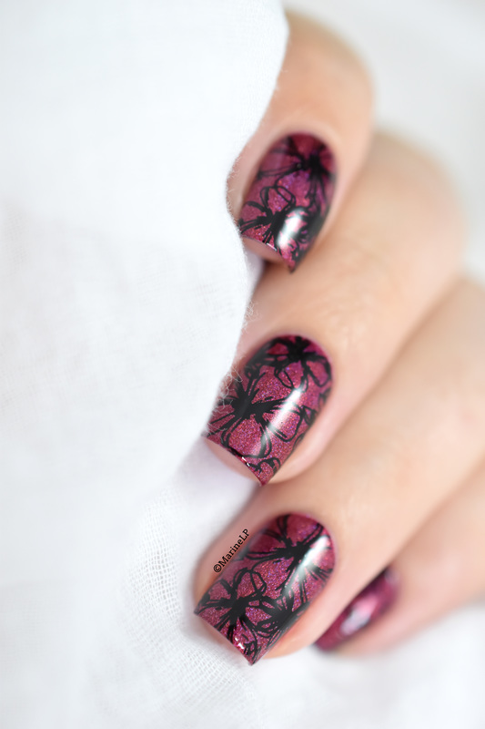 Pink flowers nail art by Marine Loves Polish