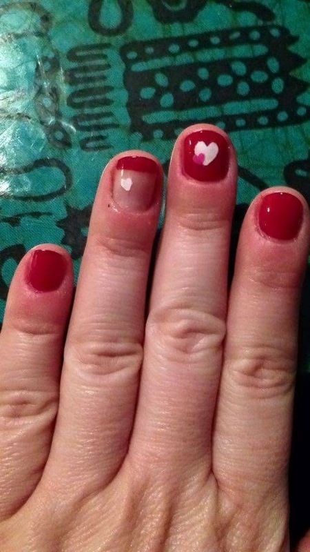 Valentine's stenciling nail art by Rezingona