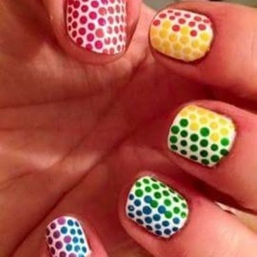 Rainbow dots nail art by Rezingona