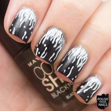 Black grey striped white squiggles fashion nail art 4 thumb370f