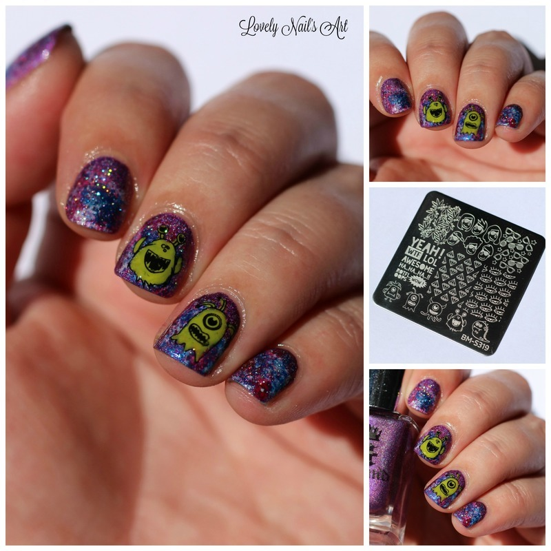 nail art stamping extraterrestre nail art by Lovely Nail's  Art
