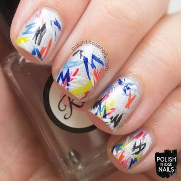 Silver holo rainbow squiggles fashion nail art 4 thumb370f