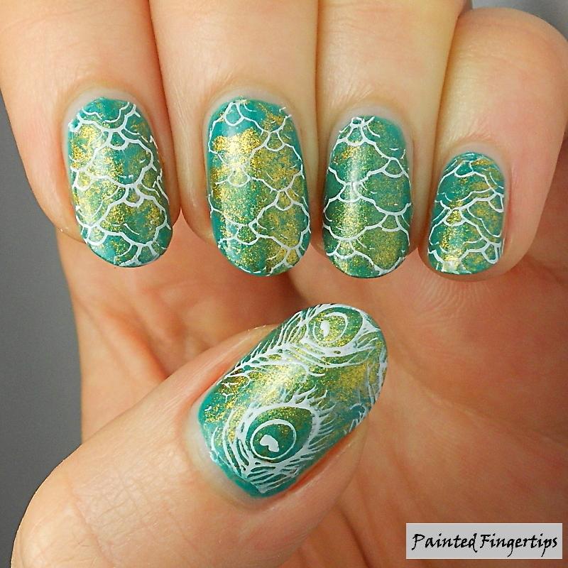 Peacock nail art nail art by Kerry_Fingertips