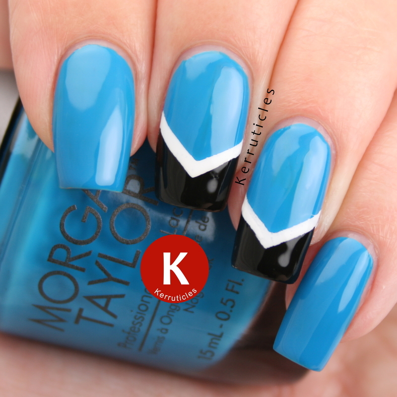 Blue, white and black chevrons nail art by Claire Kerr