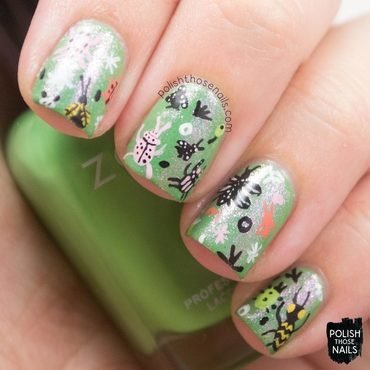 Green shimmer insect pattern nail art 4 thumb370f