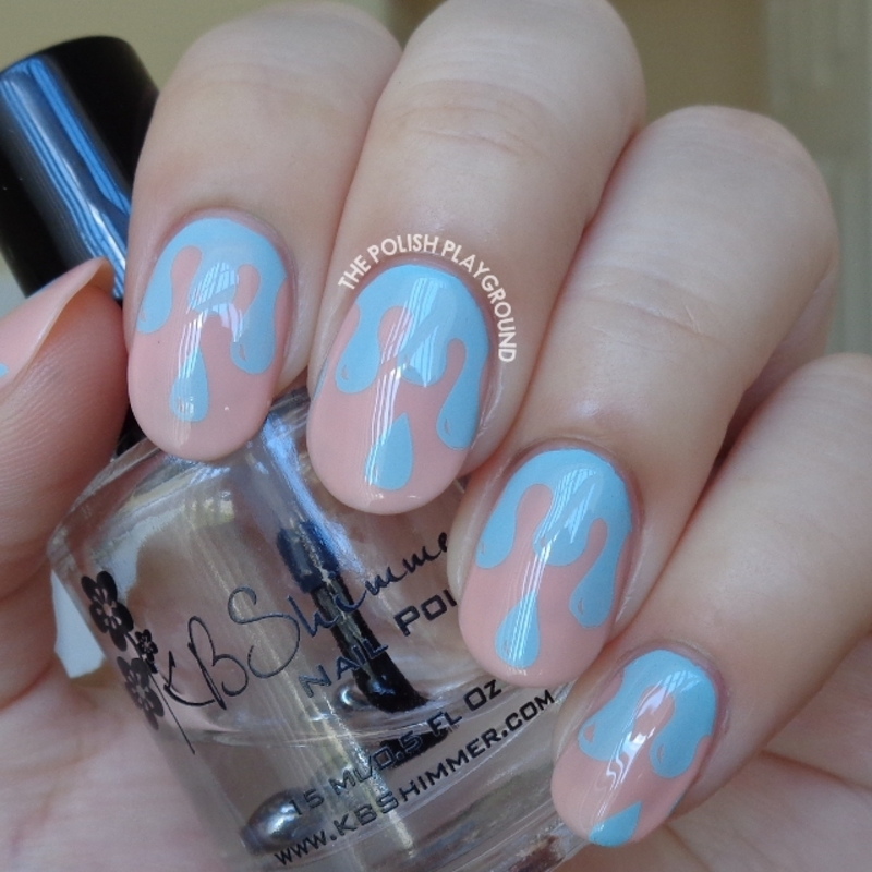 Pink with Blue Polish Drips Stamping nail art by Lisa N