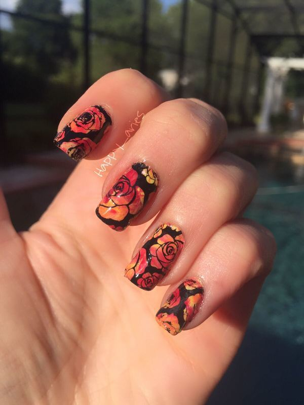 Rose garden nail art by Happy_aries