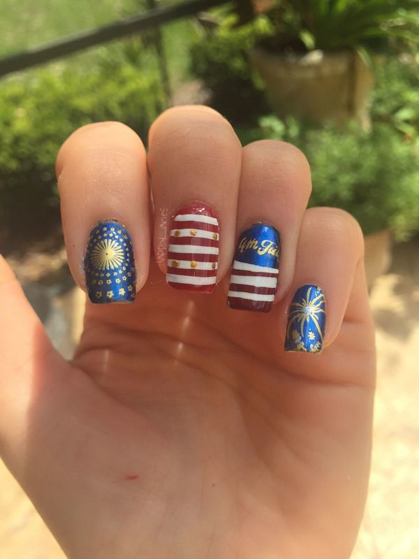 4th of July  nail art by Happy_aries