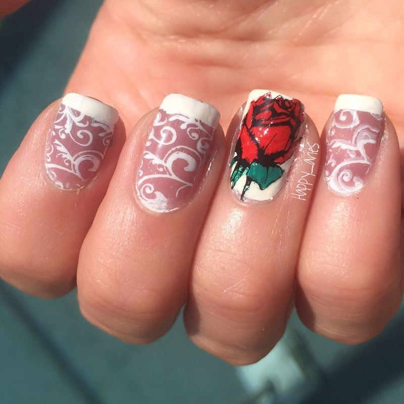 Red Rose  nail art by Happy_aries