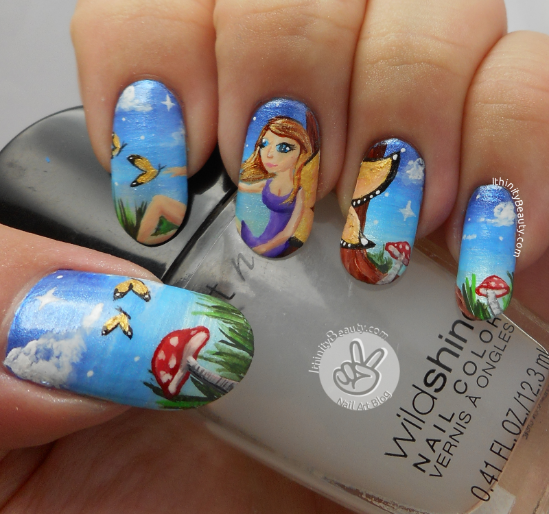 The Freehand Butterfly Fairy nail art by Ithfifi Williams