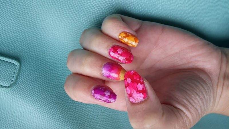 flowers jelly sandwich nail art by Maya Harran