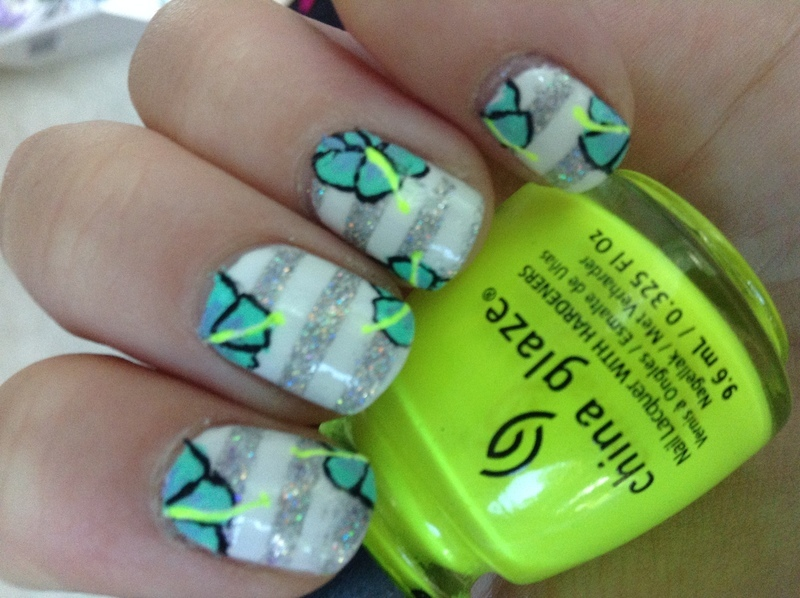 Neon hibiscus  nail art by live_life_polished
