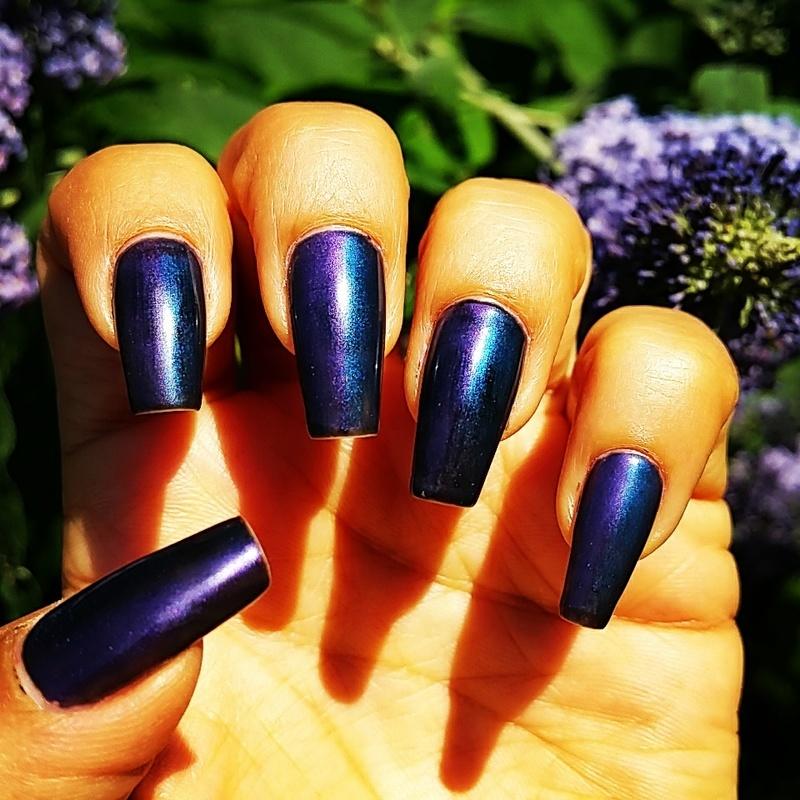 Chrome violet and blue nails nail art by Yogi Boo