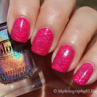 Double holo stamping nail art by Hana K.