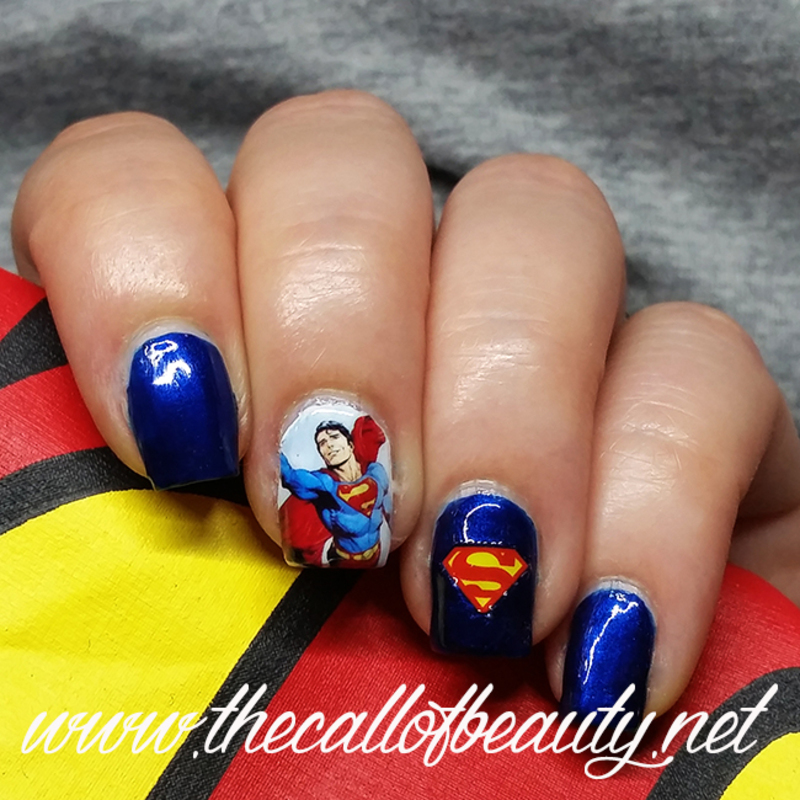 Superman Manicure nail art by The Call of Beauty