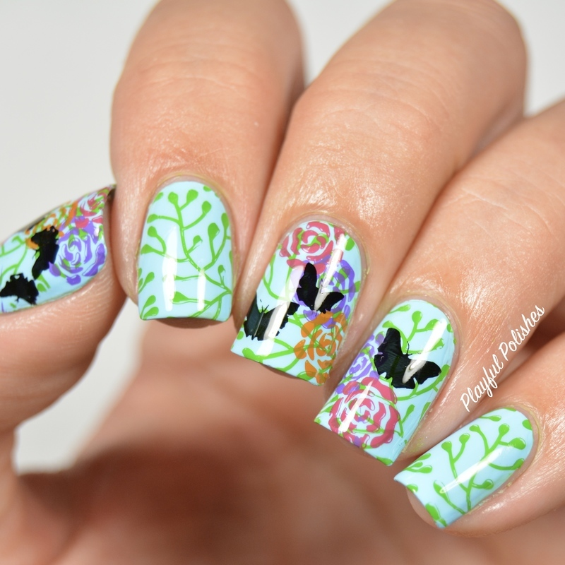 Butterfly Floral Nail Stamp nail art by Playful Polishes