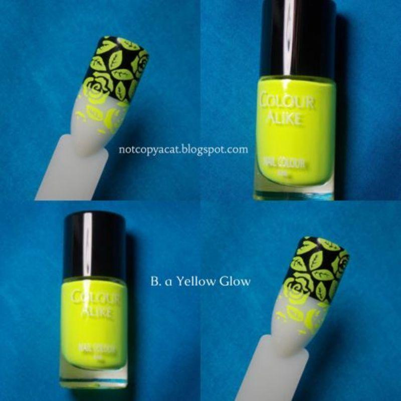 Colour Alike/B. Loves Plates, B. a Yellow Glow nail art by notcopyacat