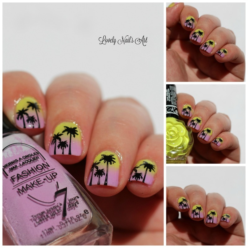 Nail art stamping palmier nail art by Lovely Nail's  Art