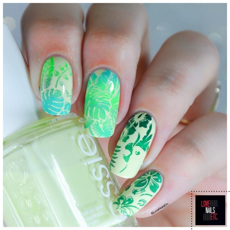 Green tons - Tropical  nail art by Love Nails Etc