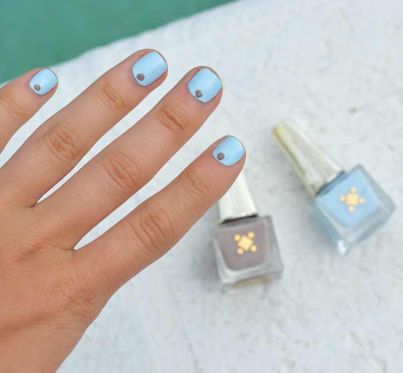 Neutrals and Blues // nail art by Deco Miami