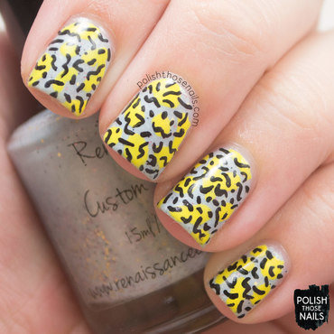 Light blue yellow 80s nail art pattern 4 thumb370f