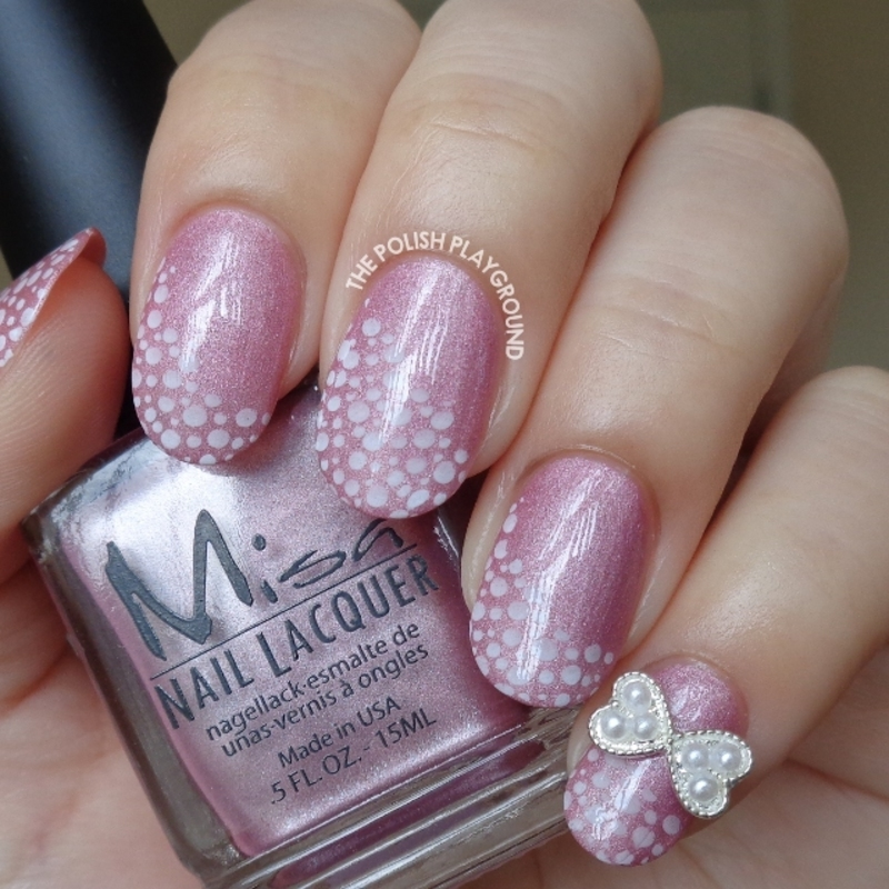 Pink Shimmer with White Bubbles Stamping and Bow Stud nail art by Lisa N