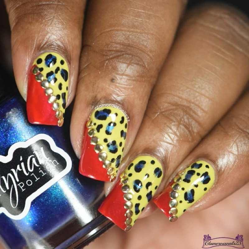 Yellow, Red & Blue Leopard Print  nail art by glamorousnails23