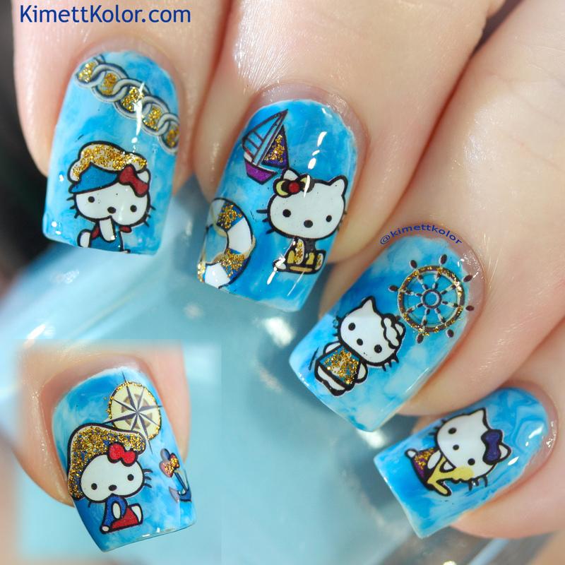 Nautical Hello Kitty nail art by Kimett Kolor
