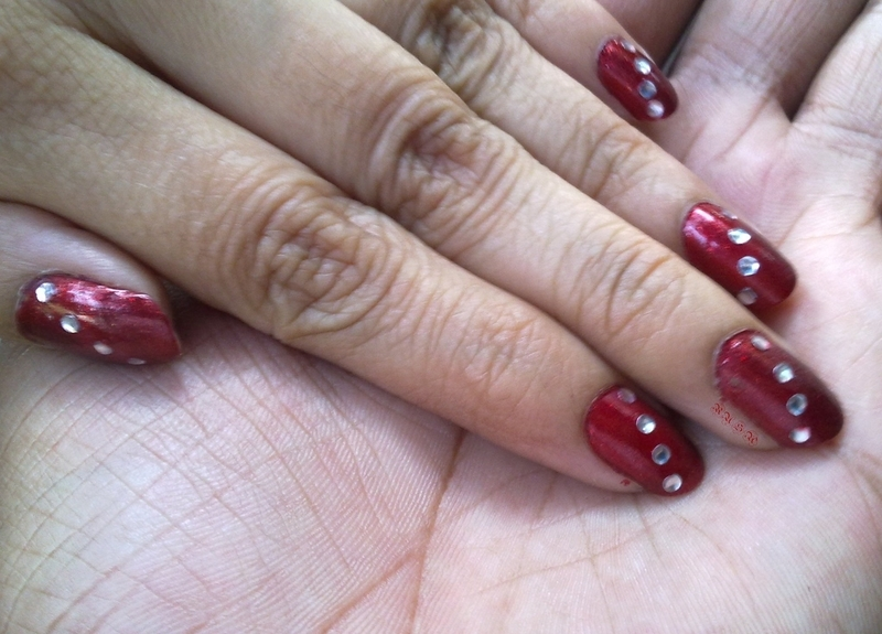 The Embellished Scarlet  nail art by Rusa
