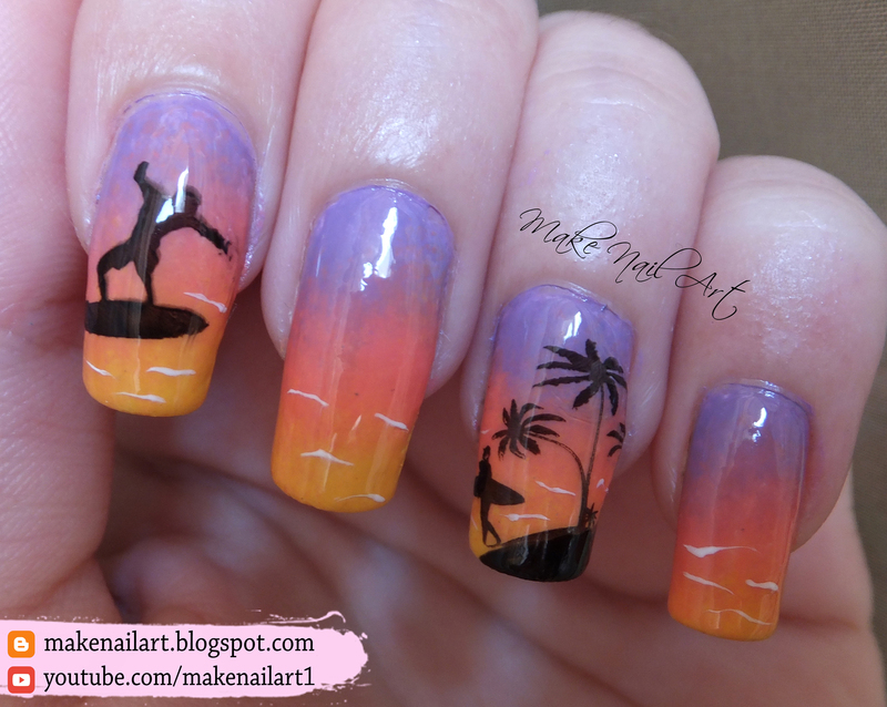 Summer Sea Sunset Nail Art Design nail art by Make Nail Art