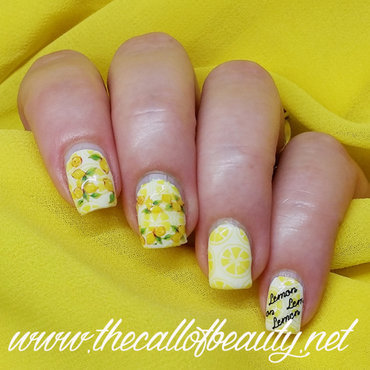 L is for Lemon nail art by The Call of Beauty