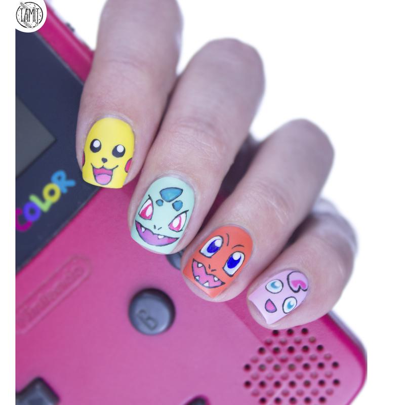 Pokémon nails nail art by Paulina