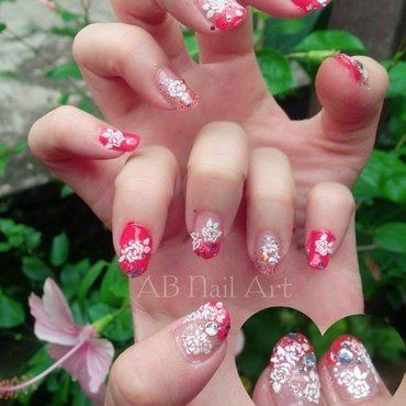 Beautiful in Red nail art by moii phing