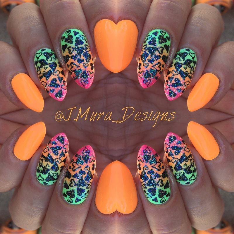 Funky Love nail art by JMura_Designs