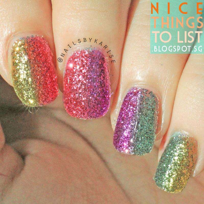 Glitter Nails nail art by Karise Tan