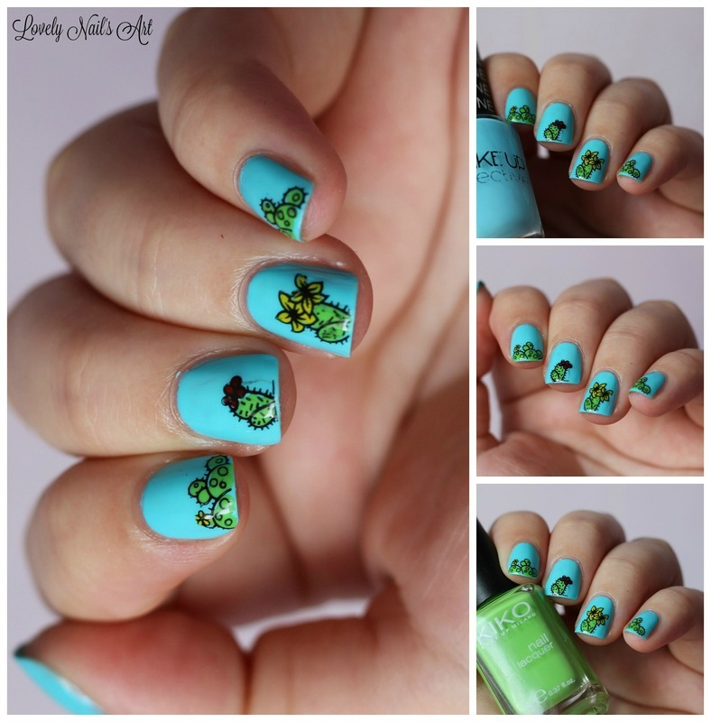 Nail stamping cactus  nail art by Lovely Nail's  Art