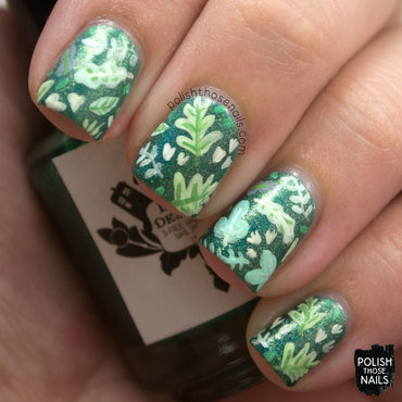 Leafy Greens nail art by Marisa  Cavanaugh