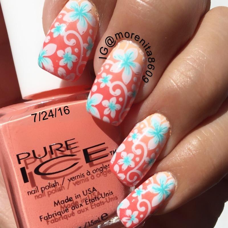 Summer  Nail Design  nail art by Morenita  Morena